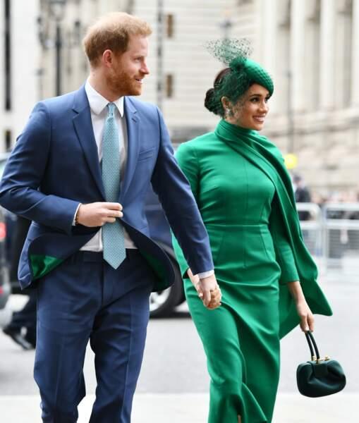Le prince Harry et Meghan Markle à la cérémonie du Commonwealth en l'abbaye de Westminster. La duchesse porte une robe verte signée Amanda Wickstead.