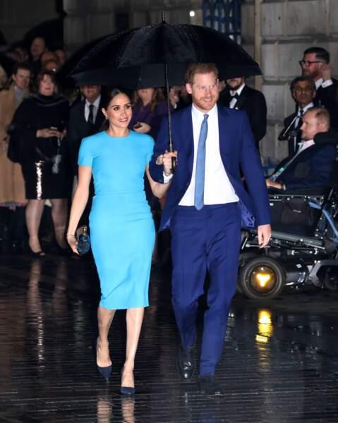 Le prince Harry et Meghan Markle arrivent à la cérémonie des Endeavour Fund Awards au Mansion House à Londres, le 5 mars 2020.