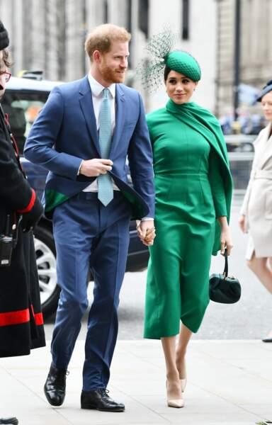 Le prince Harry et Meghan Markle arrivent à la cérémonie du Commonwealth en l'abbaye de Westminster à Londres, le 9 mars 2020.