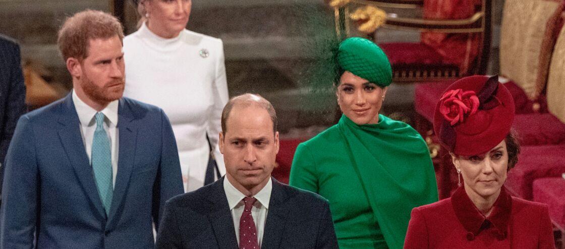 Harry, William, Meghan Markle et Kate Middleton à l'abbaye de Westminster, à Londres, le 9 mars 2020.