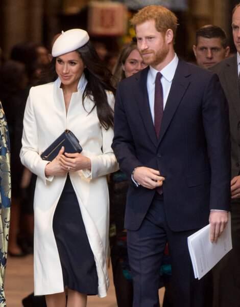 Le prince Harry et Meghan Markle mixent noir et blanc lors de la cérémonie du Commonwealth en 2018.