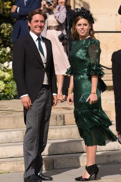 Le 31 août 2019, la princesse Beatrice d'York assiste avec son conjoint, au mariage de son amie Elie Goulding. Pour cette occasion, la princesse porte une robe verte presque identique à celle de Kate.