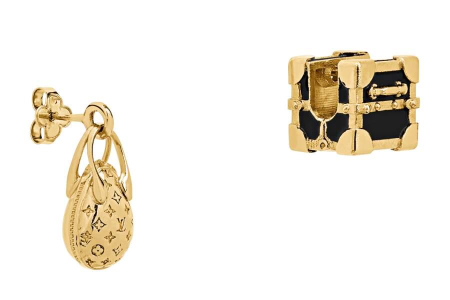 Boucles d'oreilles Minigram, LOUIS VUITTON.