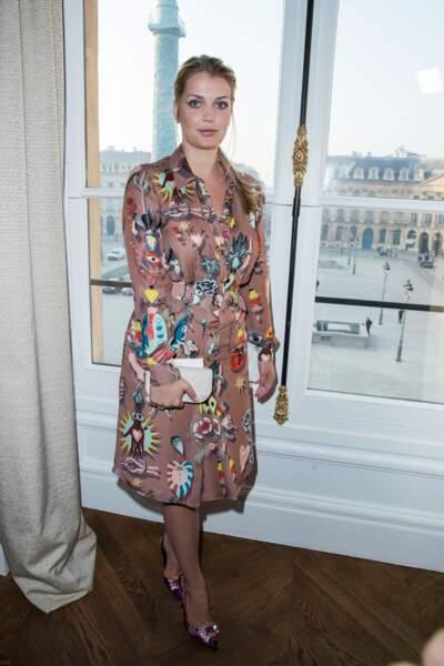 """Lady Kitty Spencer au défilé de mode """"Schiaparelli"""", collection Haute-Couture printemps-été 2017 à Paris."""