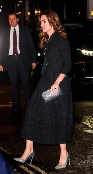 """Kate Middleton assiste à la représentation de la comédie musicale """"Dear Evan Hansen"""" au théâtre Noël Coward à Londres le 25 février 2020."""