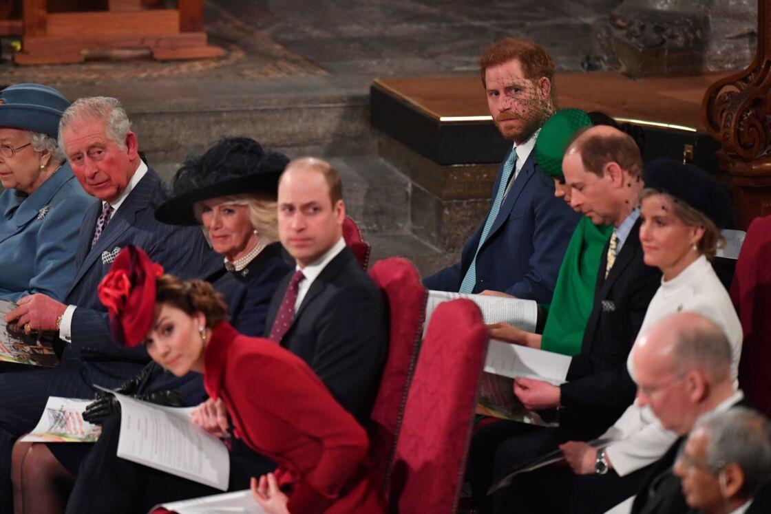 Les Cambridge et les Sussex réunis pour une dernière fois, lors de la journée du Commonwealth célébrée à l'abbaye de Westminster, le 9 mars 2020.