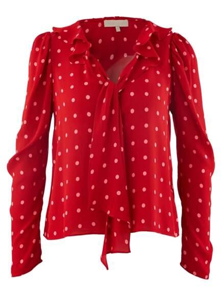Blouse à lavallière rouge à pois roses, Vanessa Bruno, 215 euros.