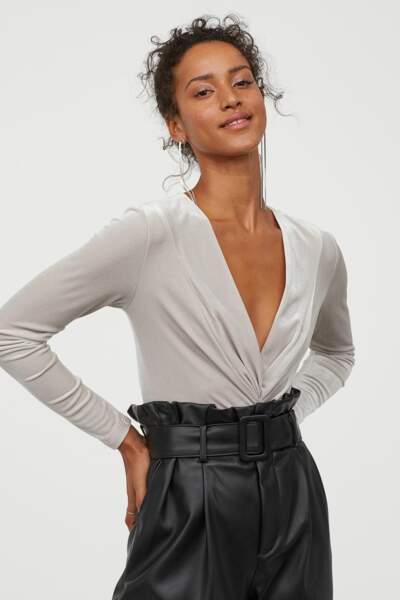 Body en velours drapé H&M, 30€