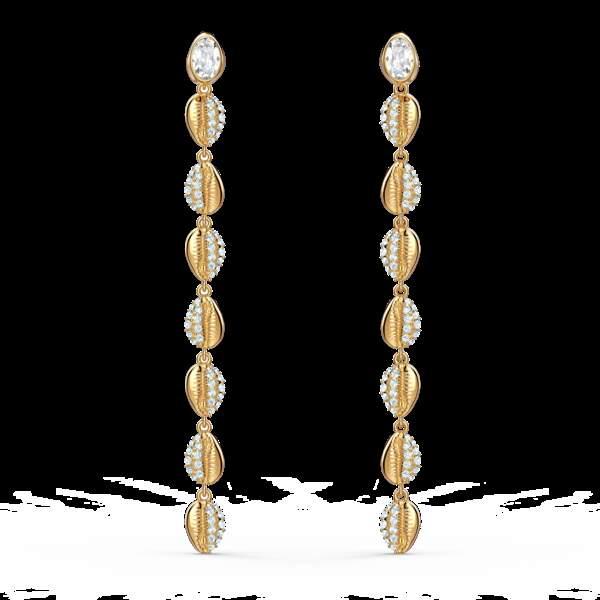 Boucles d'oreilles en métal doré, 119€, Swarovski.