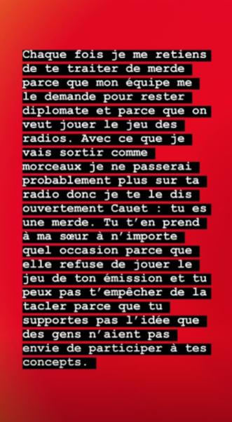 Roméo Elvis clashe Cauet, sur Instagram, le 21 mars 2020.