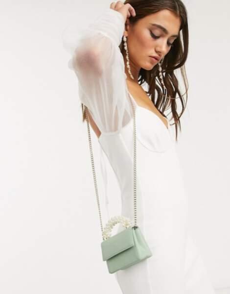 TOPSHOP - Mini sac couleur sauge et anse en perles, 25€