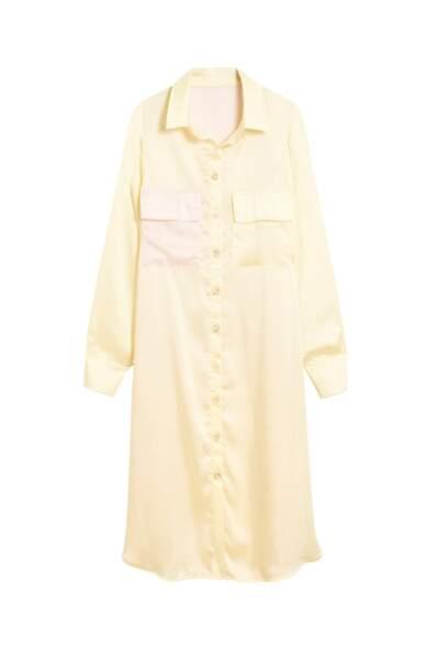 Robe-chemise en satin, 265€, Valentine Witmeur Lab