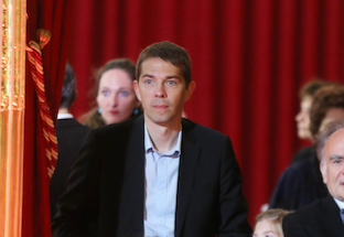 Sébastien Auzière, le fils aîné de Brigitte Macron, lors de l'investiture d'Emmanuel Macron, à l'Elysée, le 14 mai 2017.