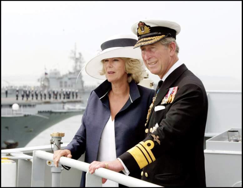 Le prince Charles et Camilla à Portsmouth, le 28 juin 2005