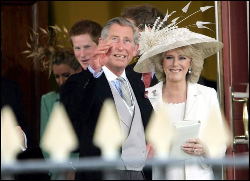 Charles et Camilla lors de leur mariage à Windsor, le 9 avril 2005
