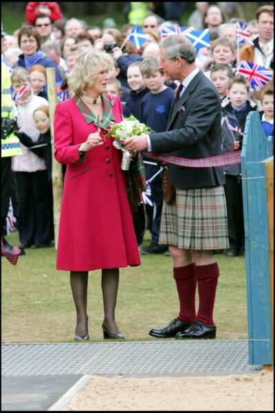 Charles et Camilla à Ballater, en Écosse, le 14 avril 2005