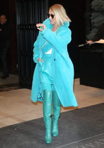 Céline Dion : total look turquoise à New York en novembre 2019