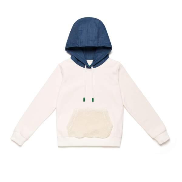 Sweat blanc à capuche denim , 99€95, Benetton
