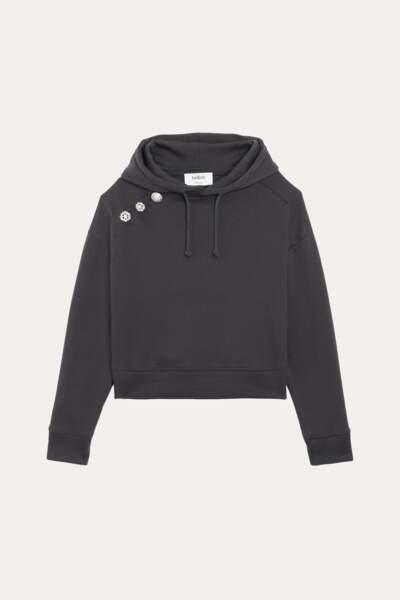 Sweat à capuche gris foncé, 180€, Ba&sh