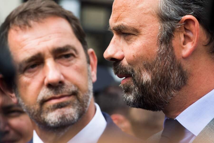 Edouard Philippe avec Christophe Castaner à Palaiseau, le 31 juillet 2019