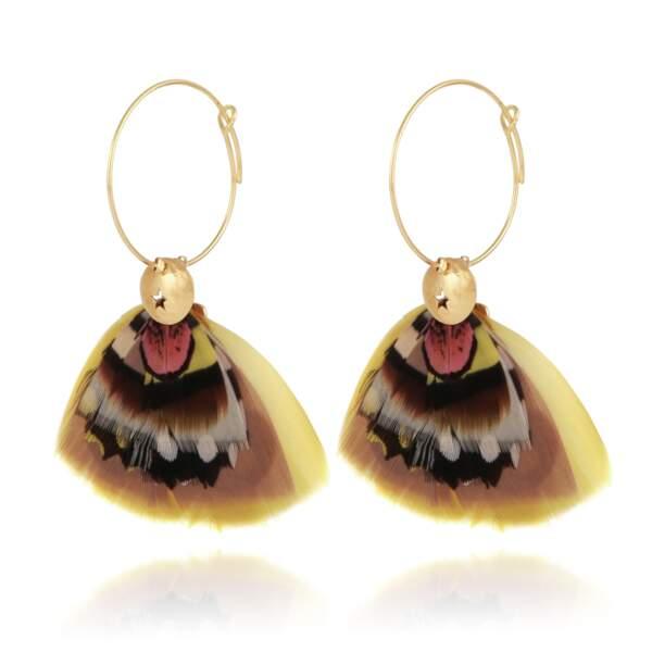 Boucles d'oreilles Bermude en métal doré à l'or fin, 90€, Gas Bijoux.