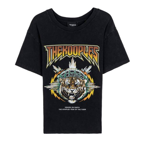 Tee-shirt en coton rock sérigraphie tigre, 85 €, The Kooples.