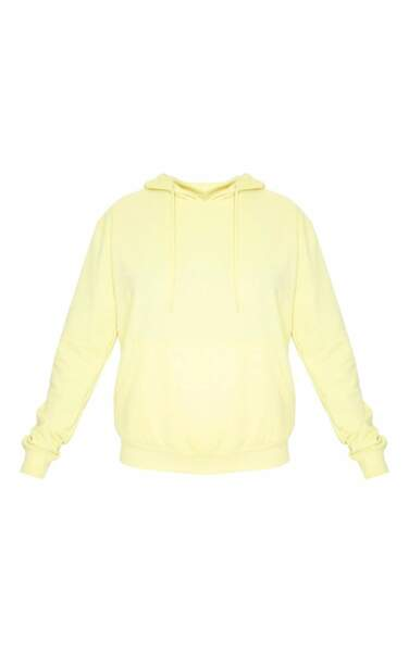 Sweat à capuche jaune fluo, 28€, PrettyLittleThing