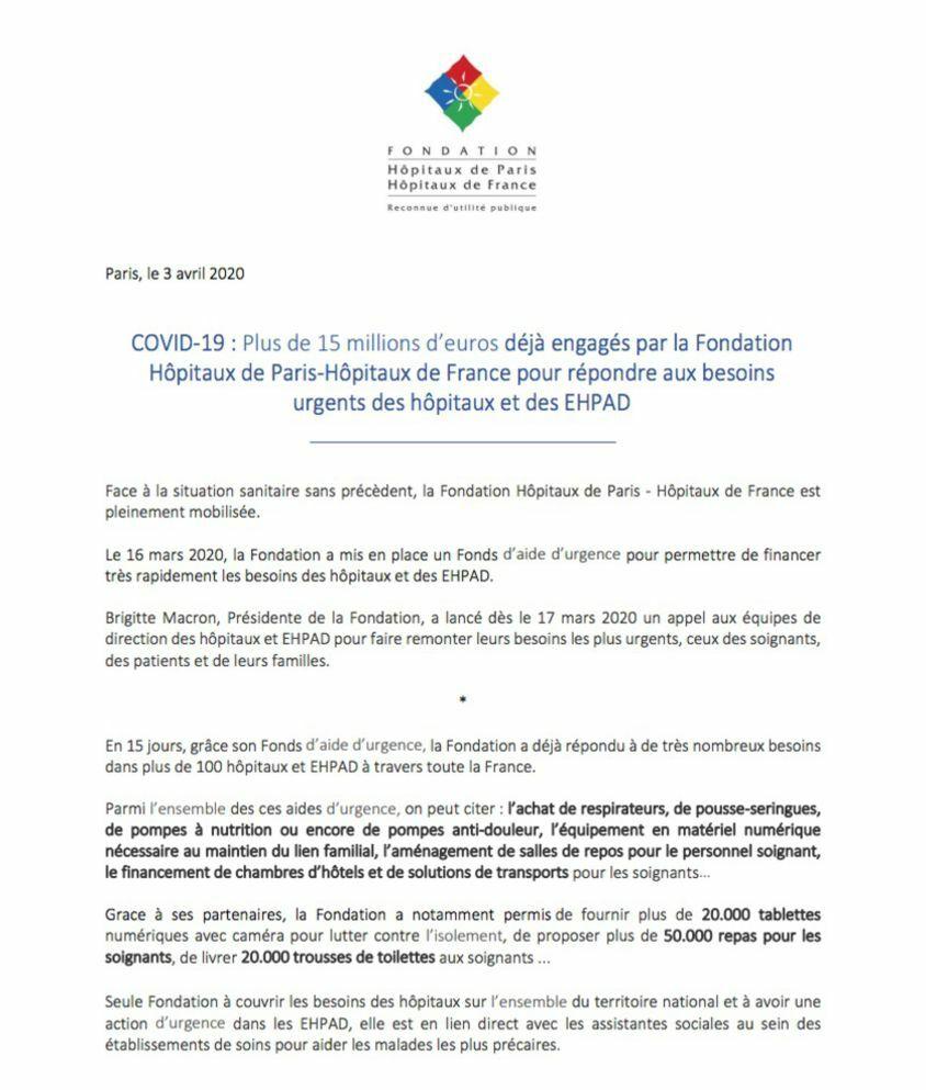 Communiqué du 3 avril 2020 de la Fondation Hôpitaux de Paris – Hôpitaux de France