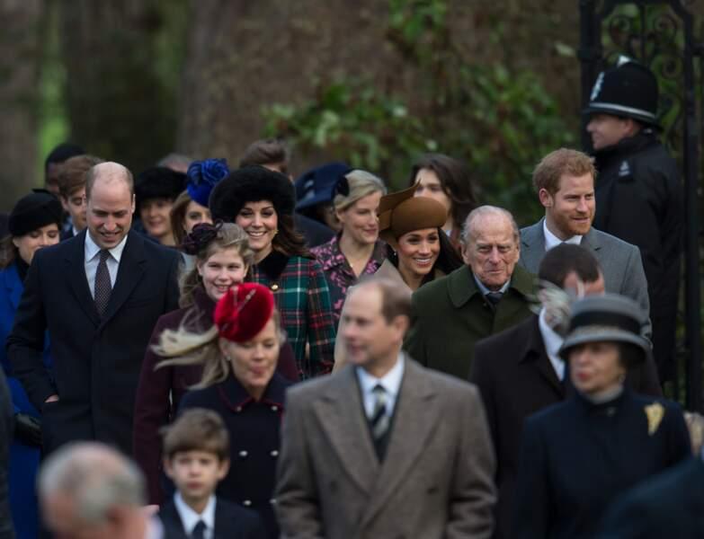 Le prince Philip en famille à Sandringham, en 2017