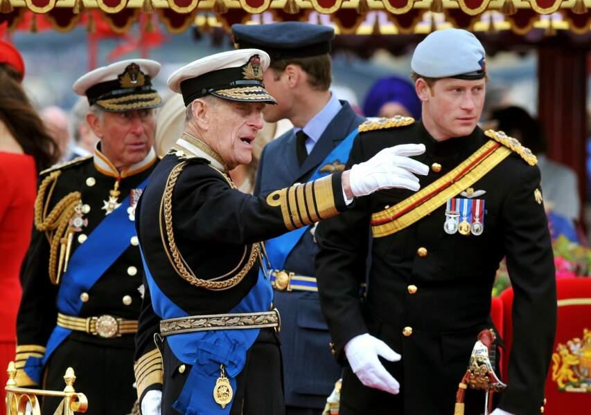 Charles, William, Philip et Harry à Londres en 2012