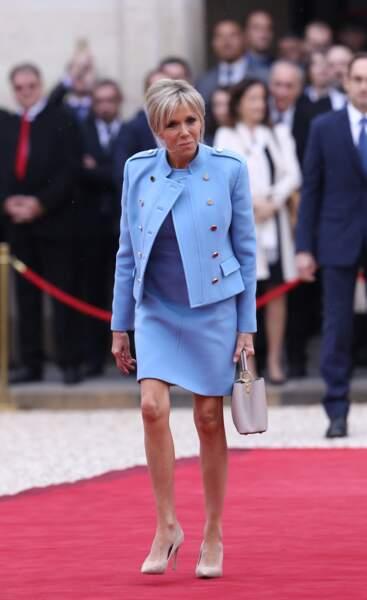 Brigitte Macron lors de l'investiture de son mari le  le 14 mai 2017 au palais de l'Elysée à Paris