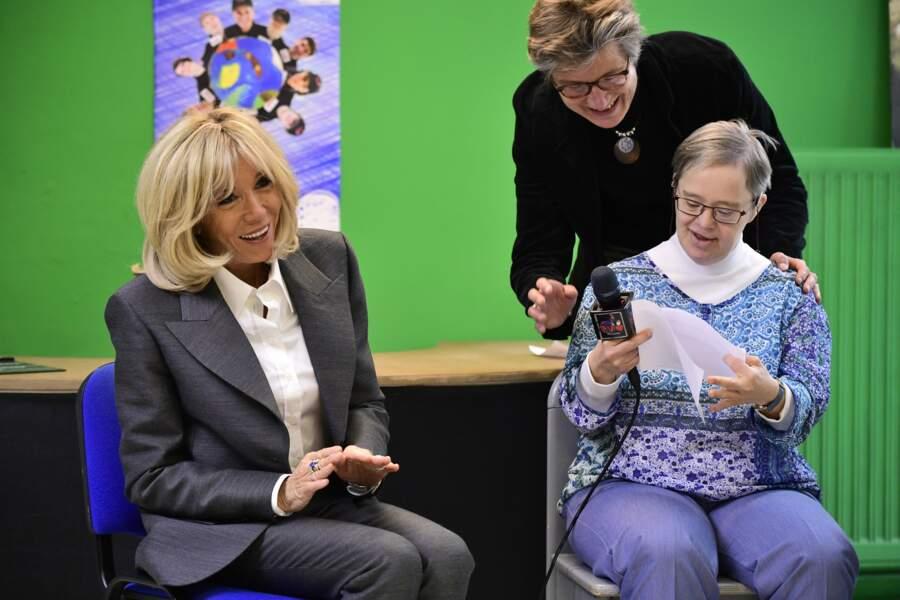 Brigitte Macron dans un service résidentiel pour handicapés mentaux adultes à Haut-Ittre, Belgique le 20 novembre 2018