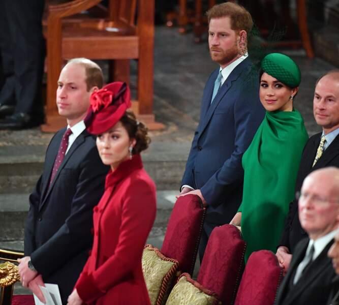 Les couples Cambridge et Sussex lors de la cérémonie du Commonwealth, quelques jours avant le départ officiel des Sussex de la famille royale.