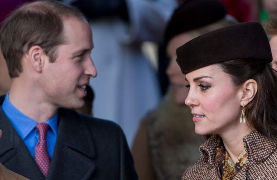 25 décembre 2014, Kate et William se rendant à la messe de Noël à Sandringham.
