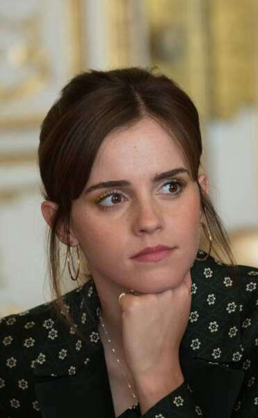 Emma Watson : maquillage nude et chignon flou pour rencontrer Emmanuel Macron, à l'Elysée 19 février 2019.