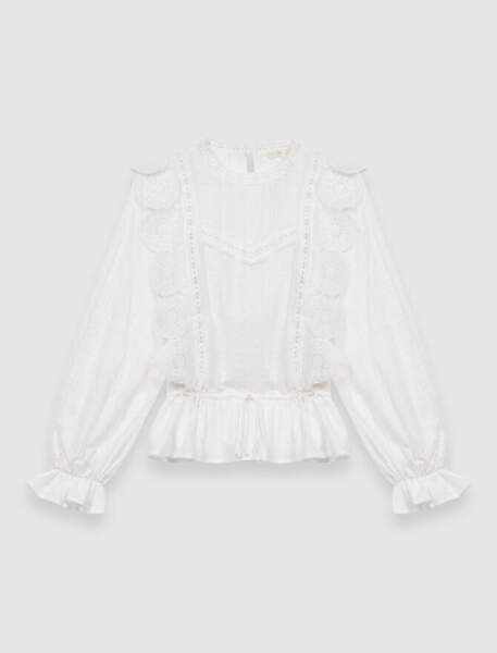 TOP BLANC À BRODERIES ANGLAISES, 195 €, Maje