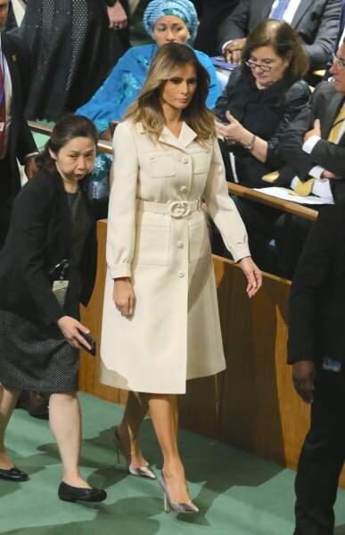 Melania Trump à la 74ème Assemblée générale de l'Organisation des Nations Unies, le 24 septembre 2019. La First Lady arborait pour l'occasion un trench nude ceintré, un intemporel à avoir dans sa garde robe !