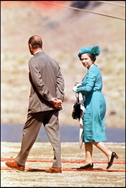 La reine Elizabeth II et le prince Philip en visite en Jordanie en 1984