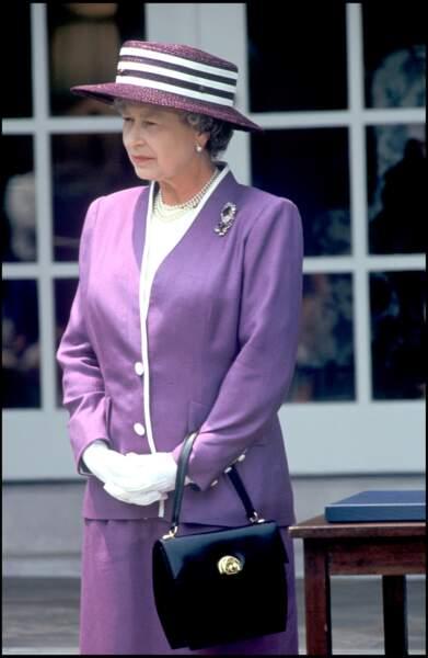 La reine d'Angleterre Elizabeth II à la maison blanche en 1991