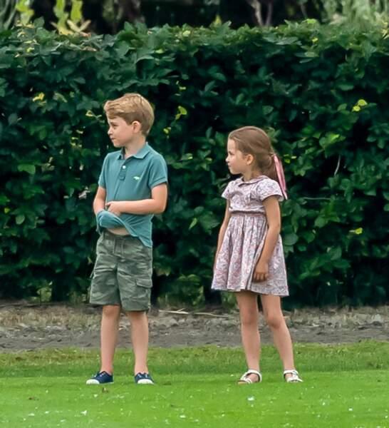 George et Charlotte de Cambridge, lors d'un match de polo de bienfaisance, King Power Royal Charity Polo Day, le 10 juillet 2019.