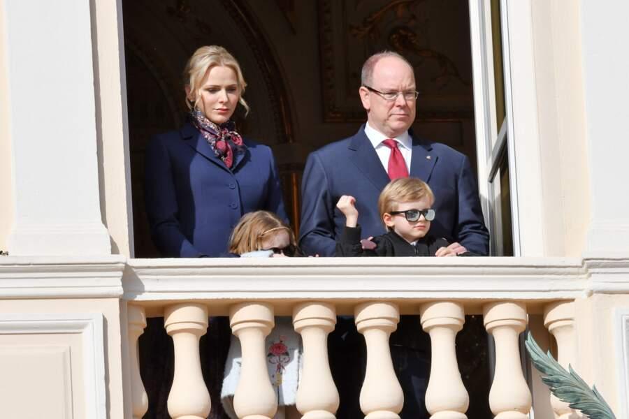 Le prince Albert de Monaco et sa femme Charlène de Monaco, avec leurs enfants, les jumeaux Jacques et Gabriella, durant la célébration de la Sainte Dévote à Monaco le 27 janvier 2020.