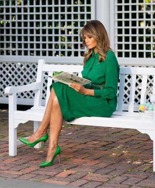 Melania Trump lit un conte pour enfants  à Washington, le 8 avril 2020 pendant l'épidémie de coronavirus.