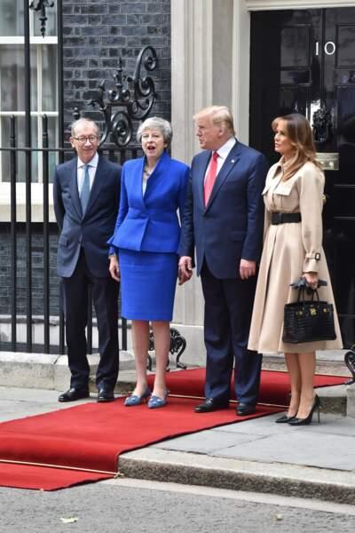 Melania Trump a fait sensation avec son Fameux sac Birkin d'Hermès, à Londres, le 4 juin 2019.