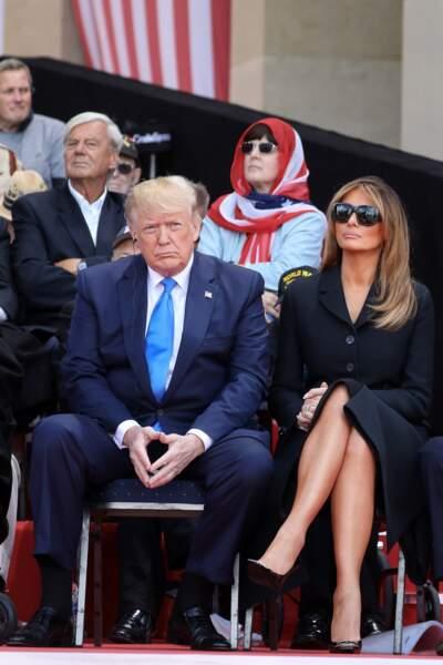 Melania Trump en Dior le 6 juin 2019  lors de la cérémonie franco - américaine au cimetière américain de Colleville sur Mer.