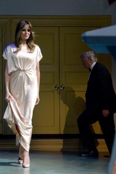 Melania Trump en robe Monique Lhuillier le 4 juin 2017.