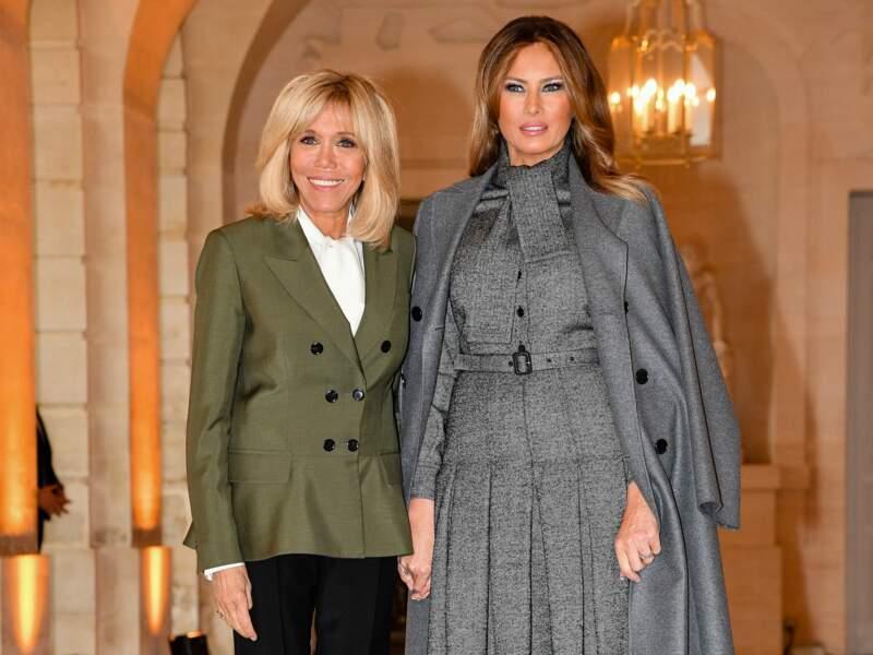 Brigitte Macron et Melania Trump en Dior au château de Versailles le 11 novembre 2018.