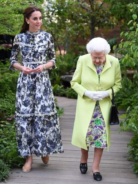 Kate Middleton le 20 mai 2019 dans une très belle robe florale Erdem.