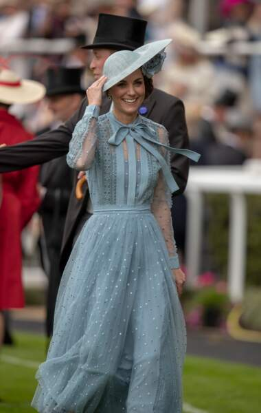 Kate Middleton à Ascot pour assister aux courses le 18 juin 2019.