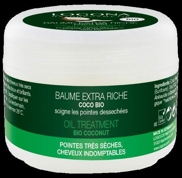 Baume Extra Riche, Coco Bio pour pointes très sèches, Logona, 9,95 €, les 45 ml, en boutique bio.