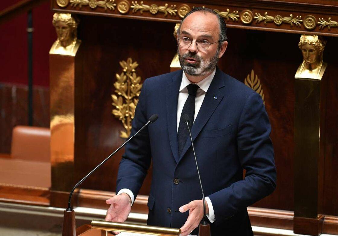 Édouard Philippe à l'Assemblée nationale, pour son discours sur le déconfinement, ce mardi 28 avril 2020.